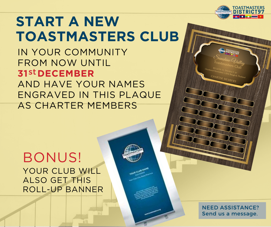 Start a new Toastmasters Club